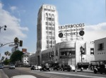 Combination of the Desmond's build and Wilshire Boulevard, 1936 with a contemporary view.