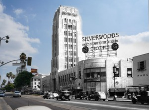 Combination of the Desmond's building and Wilshire Boulevard, 1936 with a contemporary view by Justin Fields.