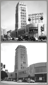 "Desmond's Building 1936 & 2013. Top photo: A view of Silverwood's in the Wilshire Tower (better known as the Desmond's building). A large sign on top of the store displays ""Silverwoods, Hart Schaffner & Marx, clothes"". The corner of the building is curved and has a large expanse of glass that covers two stories. A 20 mph speed limit sign is posted on a street light. Photo dated: Jun. 24, 1936. (Top: Los Angeles Public Library – Bottom: Justin Fields)"