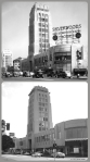 "Desmond's Building 1936 & 2013. Top photo: A view of Silverwood's in the Wilshire Tower (better known as the Desmond's building). A large sign on top of the store displays ""Silverwoods, Hart Schaffner & Marx, clothes"". The corner of the building is curved and has a large expanse of glass that covers two stories. A 20 mph speed limit sign is posted on a street light. Photo dated: Jun. 24, 1936. (Los Angeles Public Library.)"