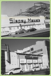 Slapsy Maxie's, circa 1947/Office Depot, 2013. Top photo: Slapsy Maxie's, circa 1947. The original building, known at the the Wilshire Bowl, was a nightclub that opened in 1933. Slapsy Maxie's took over around 1943 and closed about 1947. By 1952 it was Van de Kamp's Wilshire Coffee Shop.
