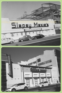 Slapsy Maxie's, circa 1947/Office Depot, 2013. Top photo: Slapsy Maxie's, circa 1947. The original building, known at the the Wilshire Bowl, was a nightclub that opened in 1933. Slapsy Maxie's took over around 1943 and closed about 1947. By 1952 it was Van de Kamp's Wilshire Coffee Shop. (Bottom photograph: Justin Fields.)