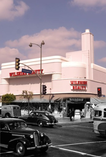 Combination of the Sontag Drug Store image, circa 1941 and a contemporary view of Wilshire Beatuy Supply.