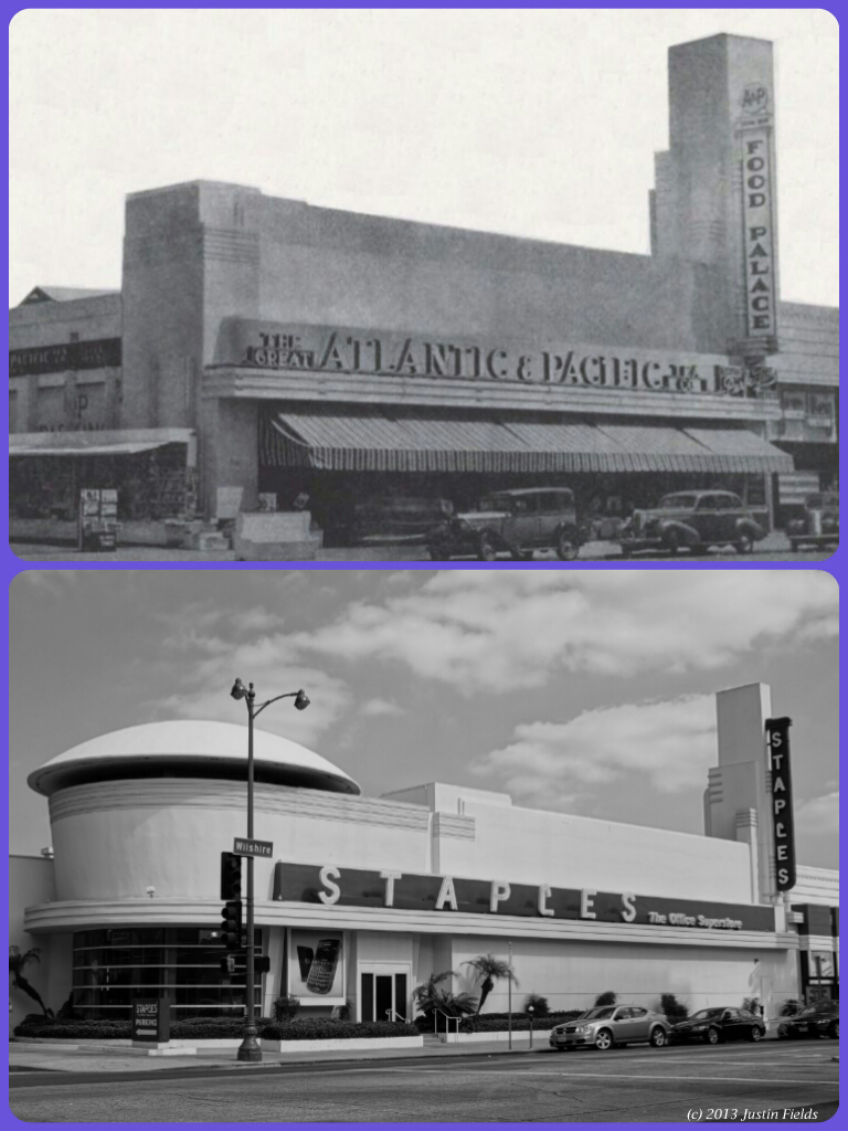 Delicieux Atlantic And Pacific Food Palace, Circa 1937/ Staples Office Supplies, 2013