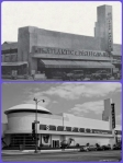 Atlantic and Pacific Food Palace, circa 1937/ Staples Office Supplies, 2013. Top photo: The Atlantic and Pacific Food Palace on the north side of Wilshire Boulevard between Cochran and Cloverdale Avenues, circa 1937. It later became the Roman Food Market and the original structure is now incorporated into a Staples office supply store.