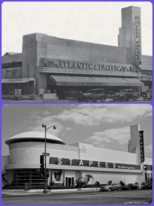 Atlantic and Pacific Food Palace, circa 1937 combined with the Staples Office Supplies, 2013. Top photo: The Atlantic and Pacific Food Palace on the north side of Wilshire Boulevard between Cochran and Cloverdale Avenues, circa 1937. It later became the Roman Food Market and the original structure is now incorporated into a Staples office supply store. (Bottom photograph by Justin Fields.)
