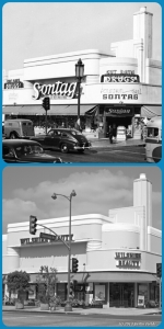 Sontag Drug Store, 1941/Wilshire Beauty Supply, 2013. Top photo: The Sontag Drug Store, located at the northwest corner of Wilshire Boulevard and Cloverdale Avenue, 1941. It was designed by Anderson and Norstrom in the Art Deco style and completed in 1935. (Top: Richard Stagg; USC Digital Library – Bottom: Justin Fields)