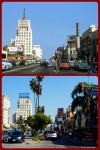 Looking east along Wilshire Boulevard @ Cloverdale, 1954 & 2013.